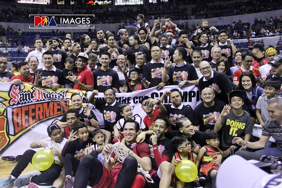 San Miguel Beermen captured Perpetual Trophy, Bernardino Trophy, PBA images