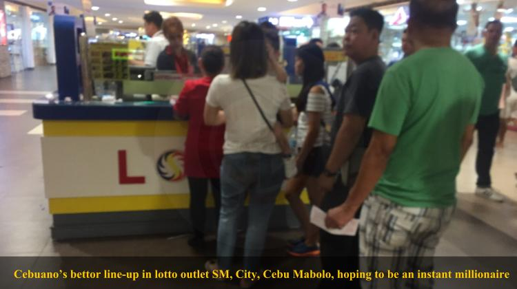 Cebuano's bettor line-up in lotto outlet SM, City Cebu Mabolo hoping to be an instant millionare