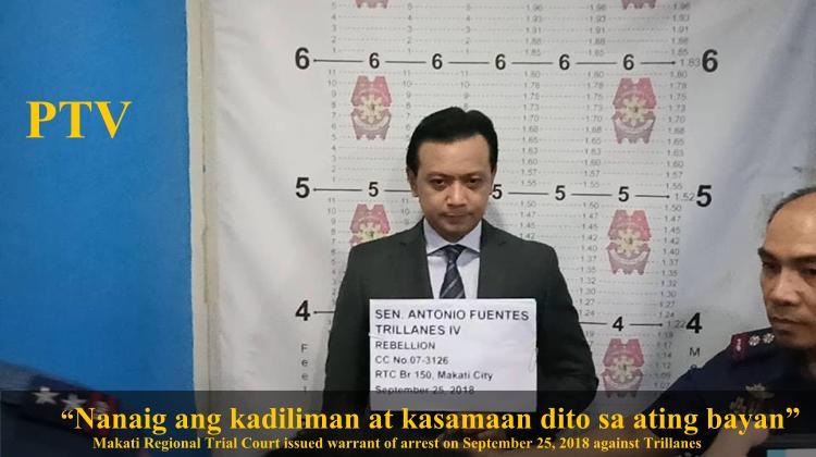 Makati Trial Court issued Warrant of arrest against Senator Antonio Trillanes