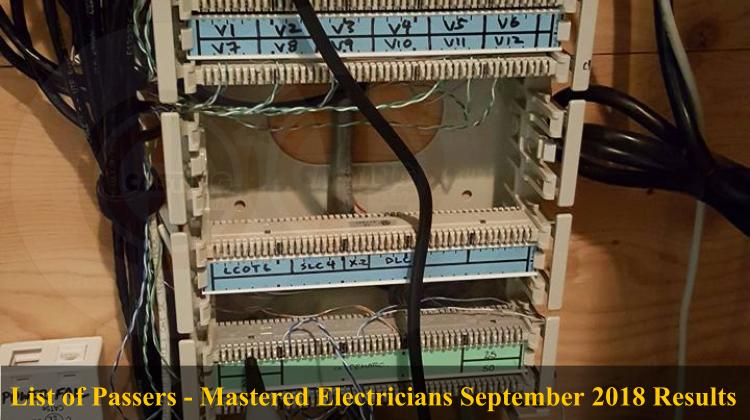 List of Passers - Mastered Electricians September 2018 Results