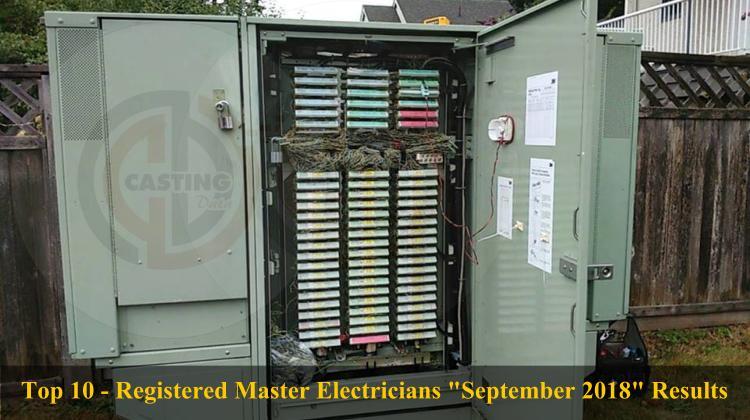 Top 10 - Registered Master Electricians 'September 2018' Results