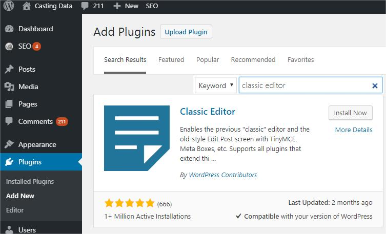 Search classic editor plugin and click install